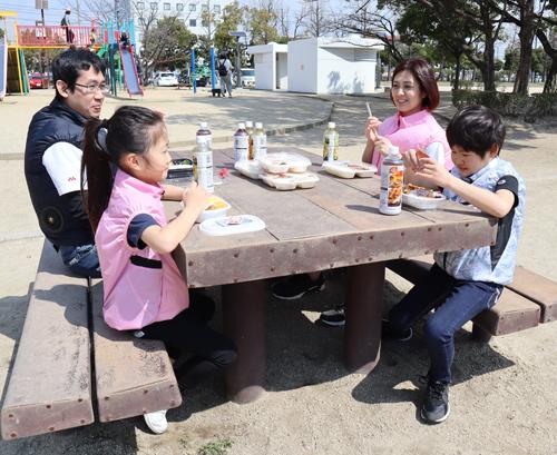 家族で空調服 熱中症対策 ピクニック